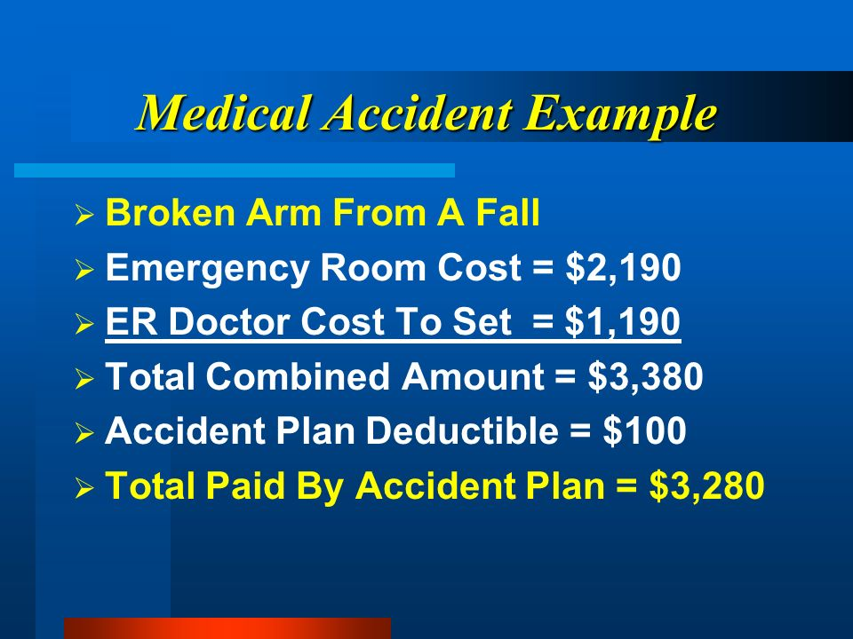 Medical Accident Example Broken Arm From A Fall Emergency Room Cost = $2,190 ER Doctor Cost To Set = $1,190 Total Combined Amount = $3,380 Accident Plan Deductible = $100 Total Paid By Accident Plan = $3,280