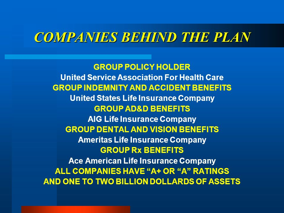 COMPANIES BEHIND THE PLAN GROUP POLICY HOLDER United Service Association For Health Care GROUP INDEMNITY AND ACCIDENT BENEFITS United States Life Insurance Company GROUP AD&D BENEFITS AIG Life Insurance Company GROUP DENTAL AND VISION BENEFITS Ameritas Life Insurance Company GROUP Rx BENEFITS Ace American Life Insurance Company ALL COMPANIES HAVE A+ OR A RATINGS AND ONE TO TWO BILLION DOLLARDS OF ASSETS