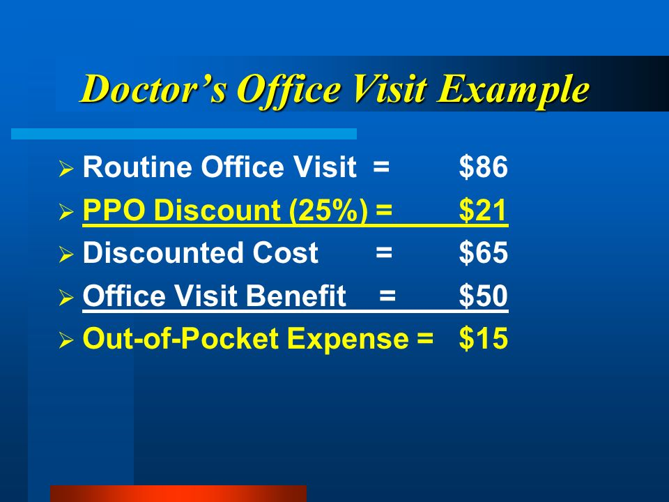 Doctors Office Visit Example Routine Office Visit =$86 PPO Discount (25%) =$21 Discounted Cost =$65 Office Visit Benefit =$50 Out-of-Pocket Expense =$15