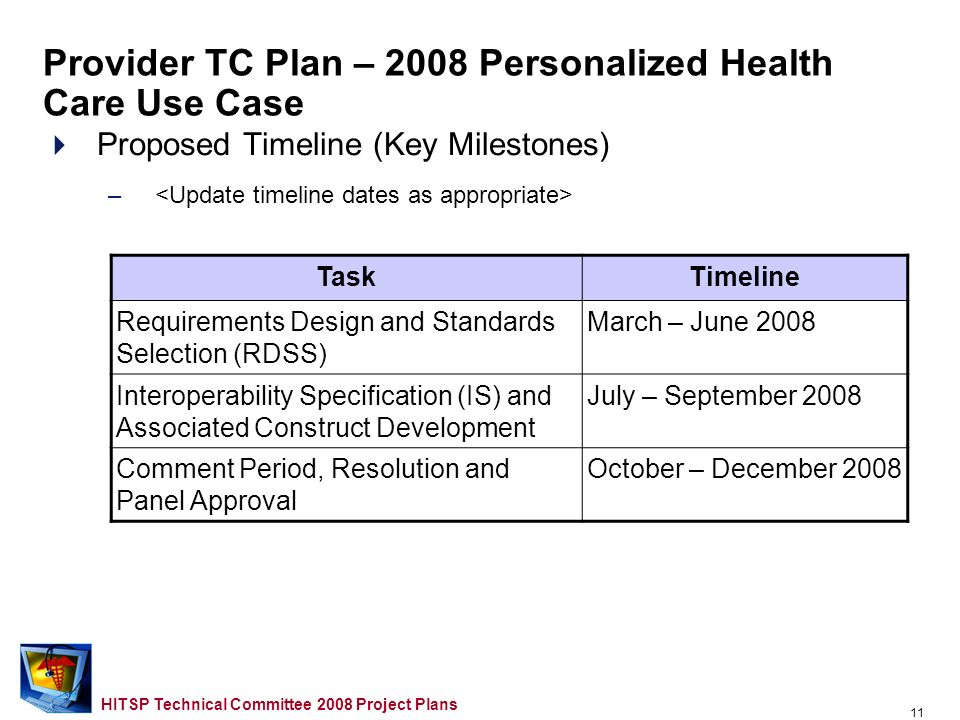 10 HITSP Technical Committee 2008 Project Plans Proposed Approach –Scope for 2008 –Opportunities for Reuse etc.… –Domain TC Support Required Provider TC Plan – 2008 Personalized Health Care Use Case