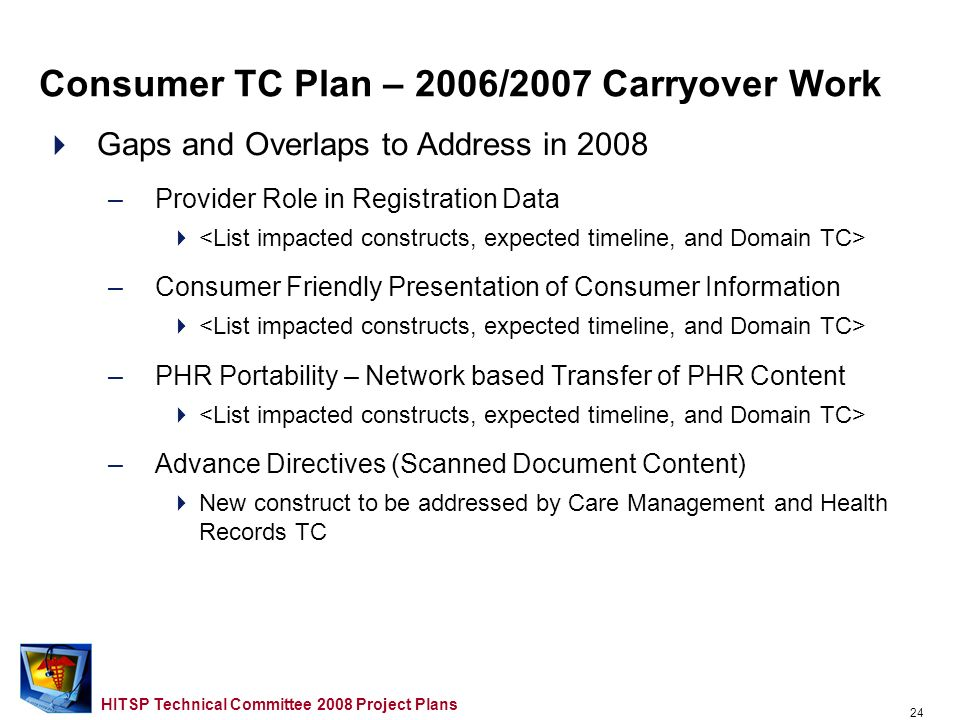 23 HITSP Technical Committee 2008 Project Plans Proposed Timeline (Key Milestones) – TaskTimeline Requirements Design and Standards Selection (RDSS) M