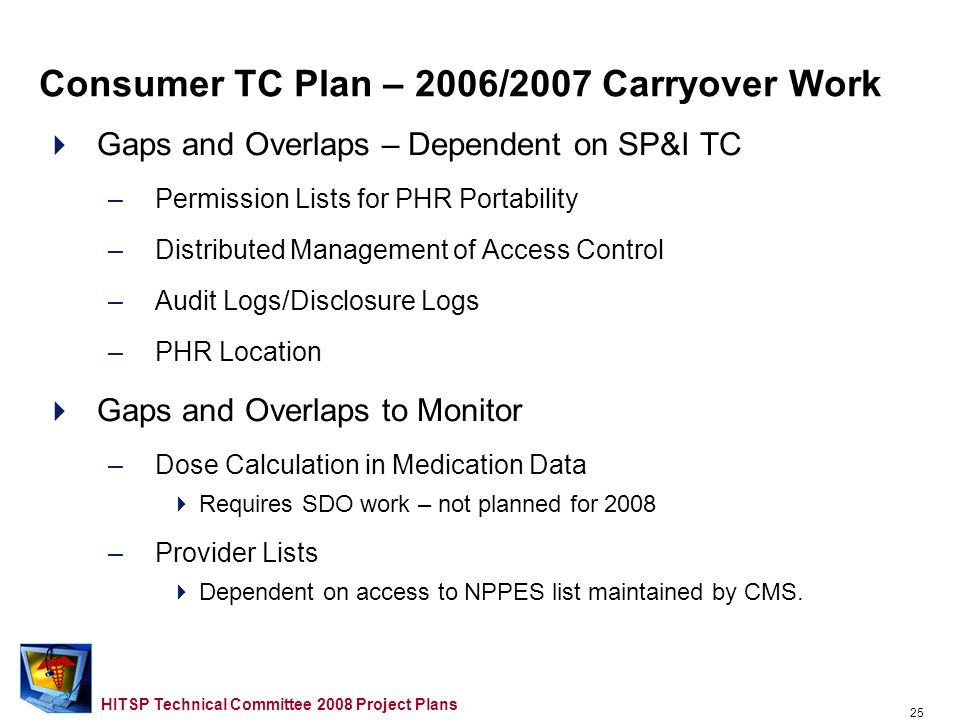 24 HITSP Technical Committee 2008 Project Plans Gaps and Overlaps to Address in 2008 –Provider Role in Registration Data –Consumer Friendly Presentati