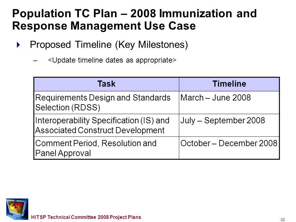 31 HITSP Technical Committee 2008 Project Plans Proposed Approach –Scope for 2008 –Opportunities for Reuse etc.… –Domain TC Support Required Population TC Plan – 2008 Immunization and Response Management Use Case