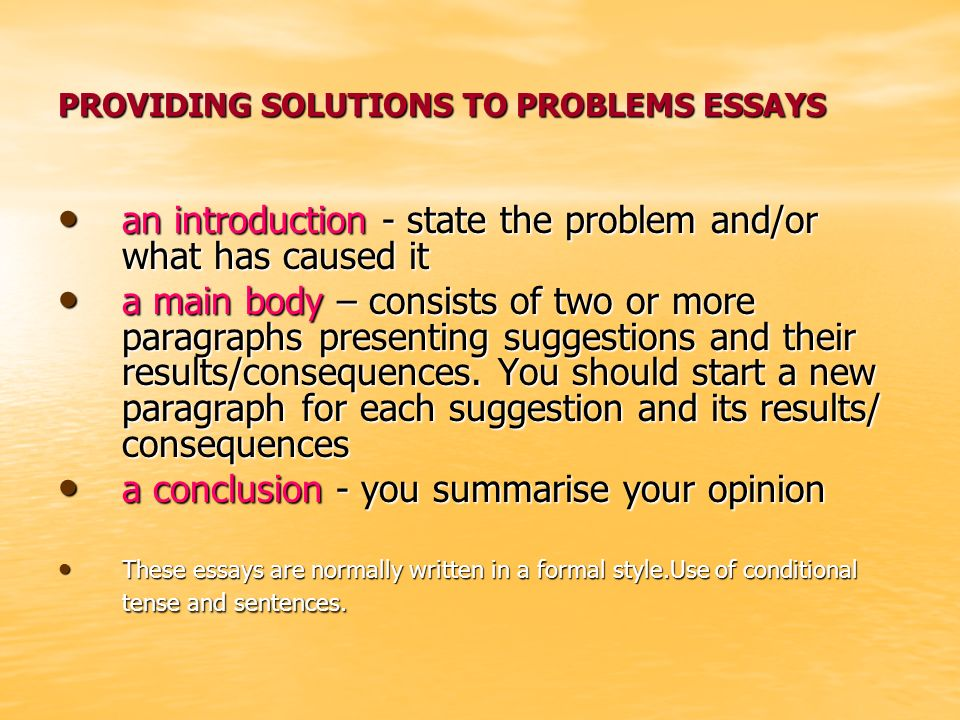 problems and solutions essay Here's an example for a problem/solution essay or a reasons for problems/solutions essay people naturally resist change in their lives what kind of problems can this cause.