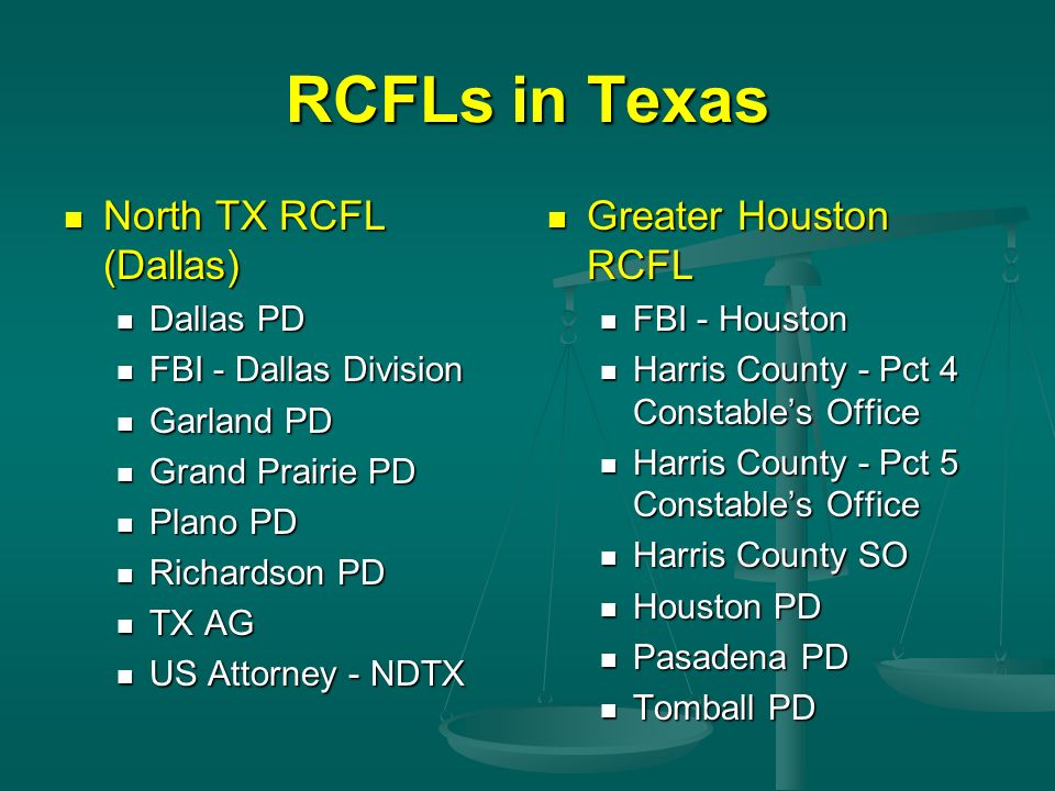 RCFLs in Texas North TX RCFL (Dallas) North TX RCFL (Dallas) Dallas PD Dallas PD FBI - Dallas Division FBI - Dallas Division Garland PD Garland PD Gra