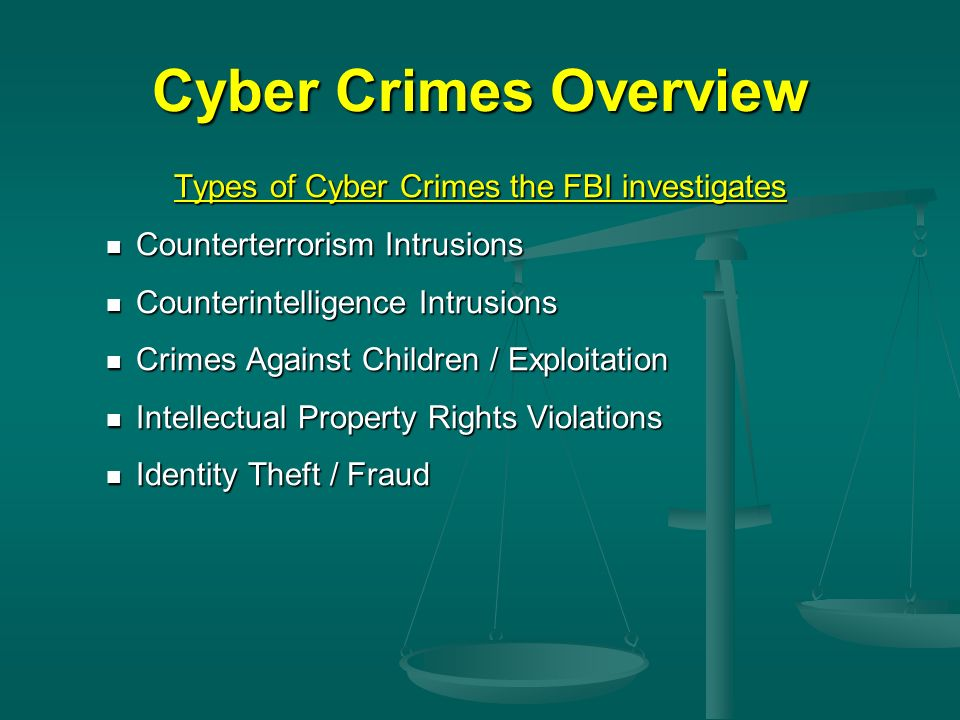Cyber Crimes Overview Types of Cyber Crimes the FBI investigates Counterterrorism Intrusions Counterterrorism Intrusions Counterintelligence Intrusion