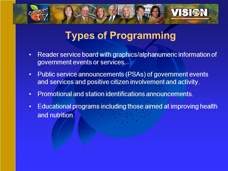 Types of Programming Reader service board with graphics/alphanumeric information of government events or services.