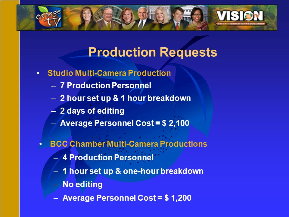 Production Requests Studio Multi-Camera Production –7 Production Personnel –2 hour set up & 1 hour breakdown –2 days of editing –Average Personnel Cost = $ 2,100 BCC Chamber Multi-Camera Productions –4 Production Personnel –1 hour set up & one-hour breakdown –No editing –Average Personnel Cost = $ 1,200