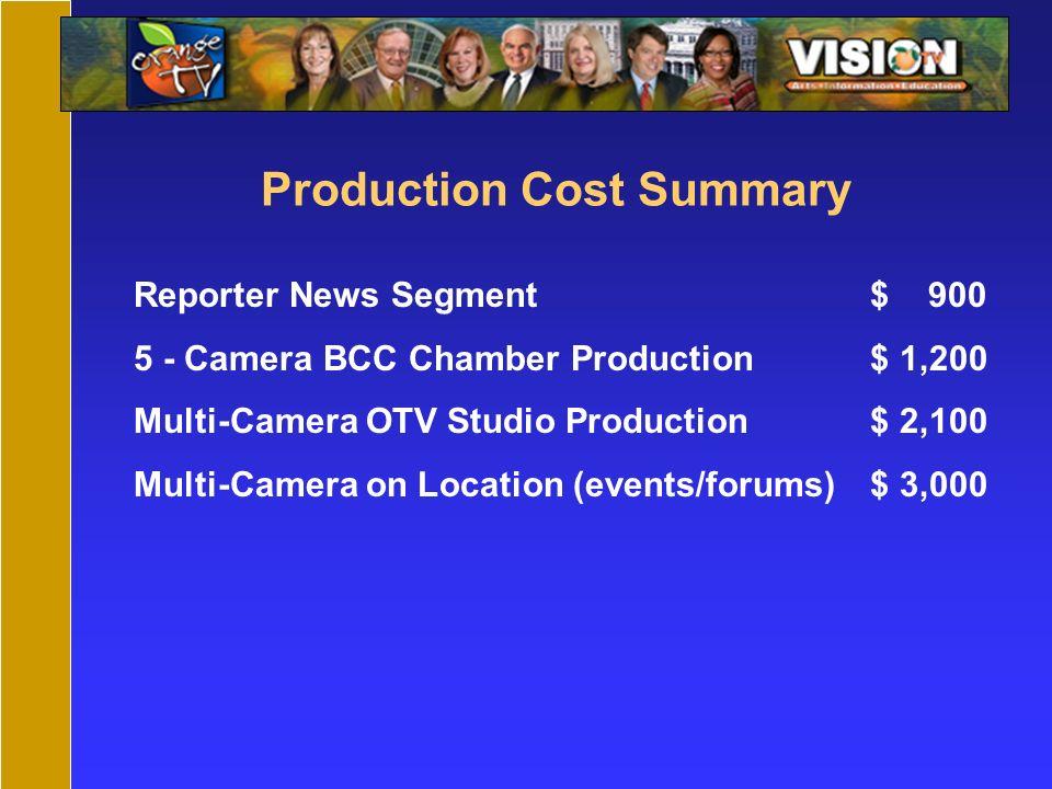 Production Cost Summary Reporter News Segment$ 900 5 - Camera BCC Chamber Production$ 1,200 Multi-Camera OTV Studio Production$ 2,100 Multi-Camera on Location (events/forums)$ 3,000