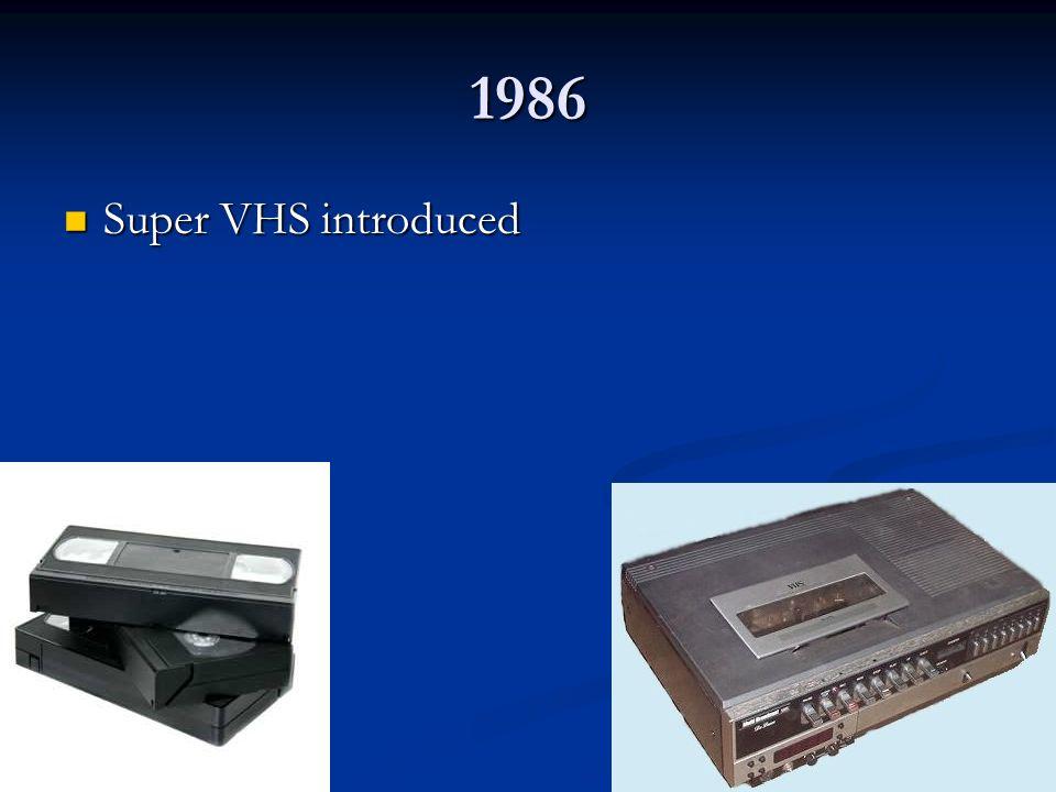 1986 Super VHS introduced Super VHS introduced