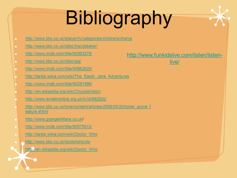 Bibliography http://www.bbc.co.uk/iplayer/tv/categories/childrens/drama http://www.bbc.co.uk/cbbc/tracybeaker/ http://www.imdb.com/title/tt0363378/ ht
