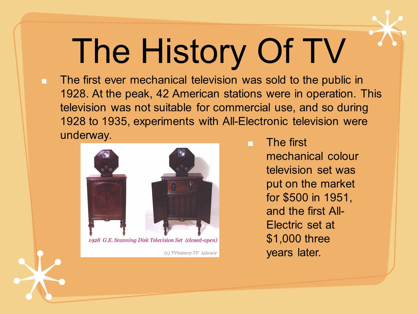 The History Of TV The first ever mechanical television was sold to the public in 1928. At the peak, 42 American stations were in operation. This telev
