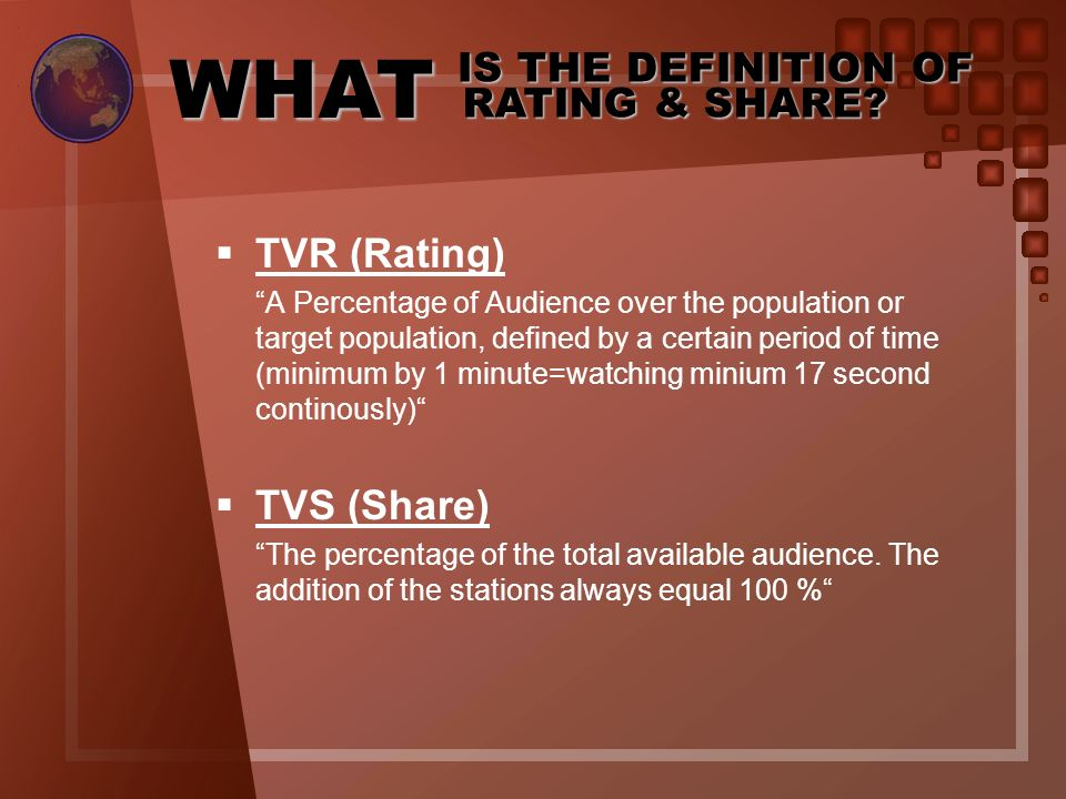 WHAT IS THE DEFINITION OF RATING & SHARE.