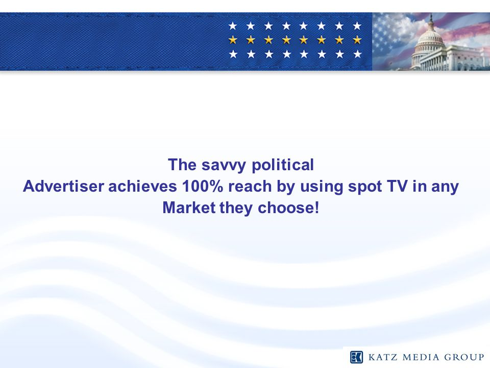 The savvy political Advertiser achieves 100% reach by using spot TV in any Market they choose!