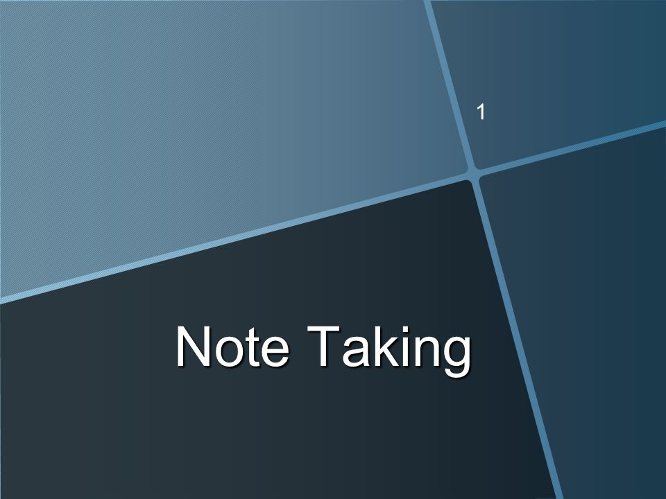 1 Note Taking