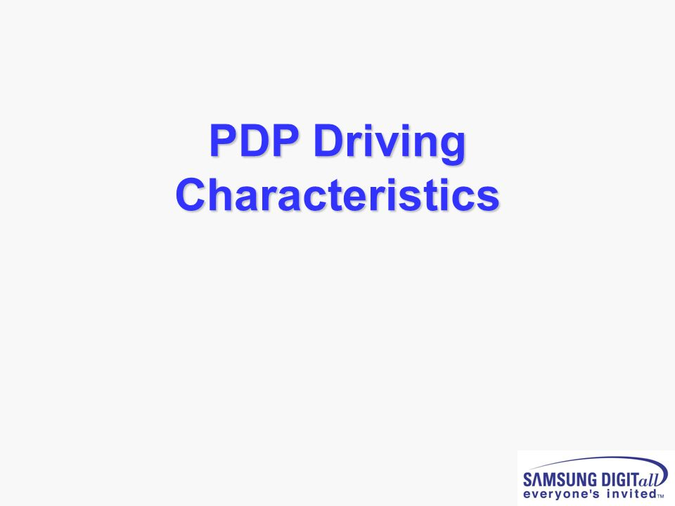 PDP Driving Characteristics