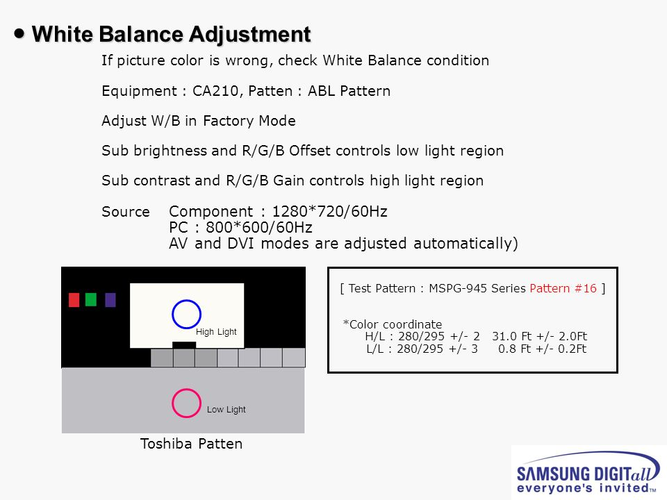 If picture color is wrong, check White Balance condition Equipment : CA210, Patten : ABL Pattern Adjust W/B in Factory Mode Sub brightness and R/G/B O