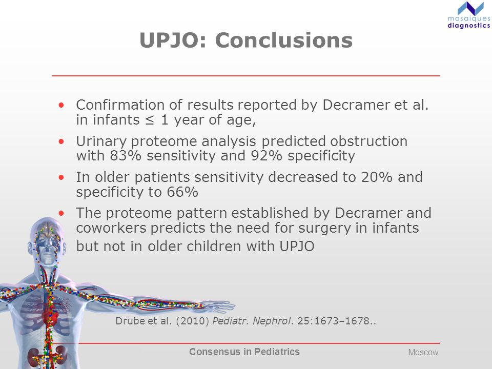 17.-20. May 2012 Consensus in Pediatrics Moscow UPJO: Conclusions Confirmation of results reported by Decramer et al. in infants 1 year of age, Urinar