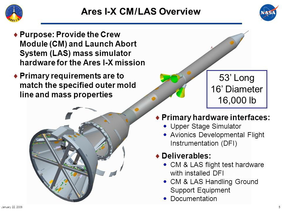 5 January 22, 2009 Ares I-X CM / LAS Overview Purpose: Provide the Crew Module (CM) and Launch Abort System (LAS) mass simulator hardware for the Ares I-X mission Primary requirements are to match the specified outer mold line and mass properties Primary hardware interfaces: Upper Stage Simulator Avionics Developmental Flight Instrumentation (DFI) Deliverables: CM & LAS flight test hardware with installed DFI CM & LAS Handling Ground Support Equipment Documentation 53 Long 16 Diameter 16,000 lb