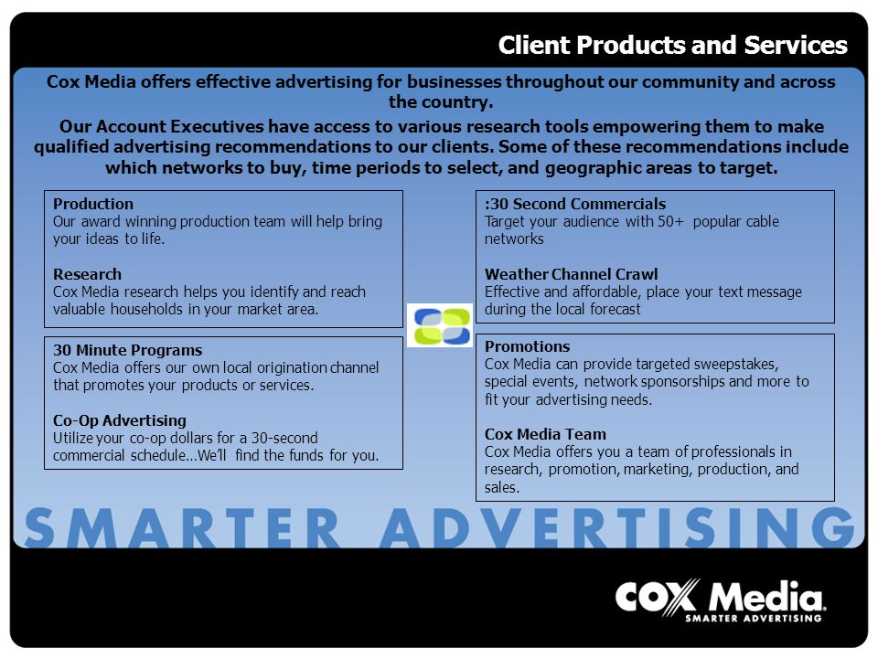 Client Products and Services Cox Media offers effective advertising for businesses throughout our community and across the country.