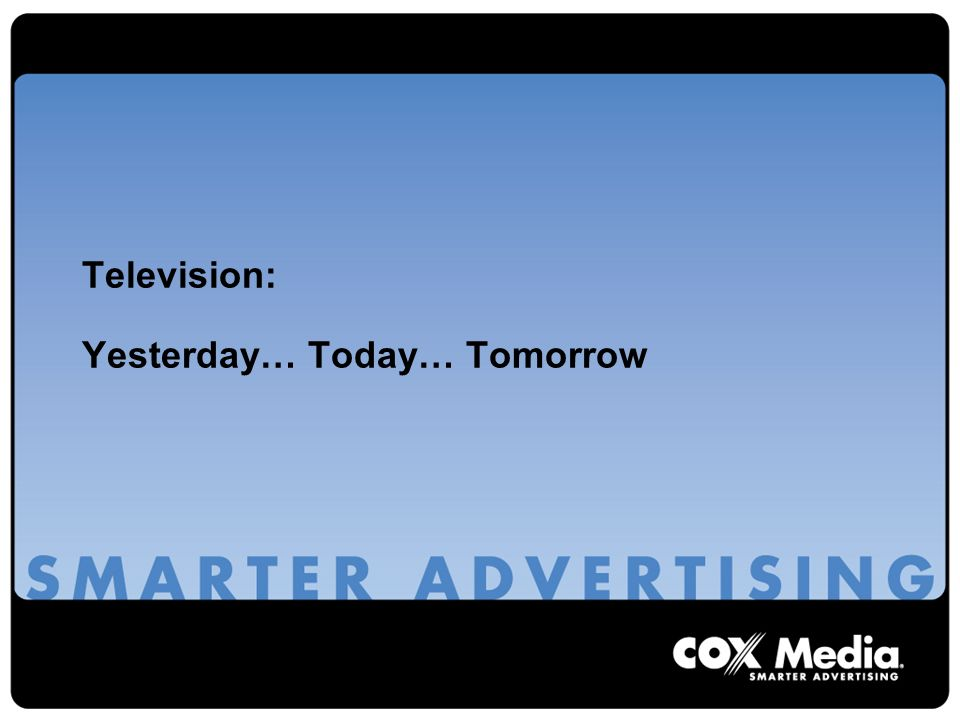 Television: Yesterday… Today… Tomorrow