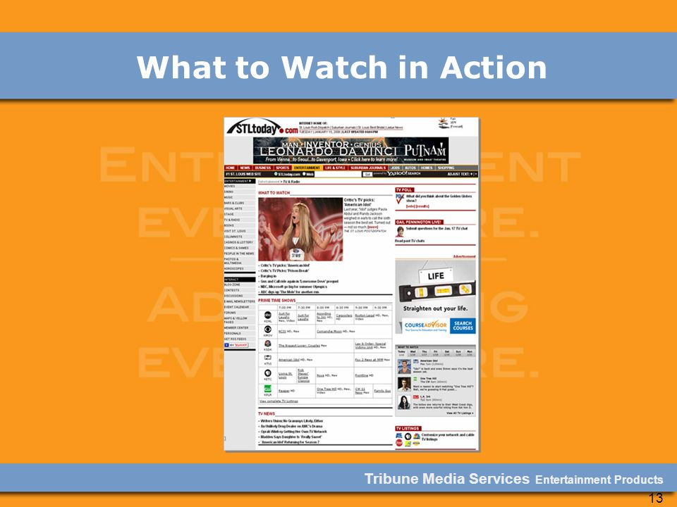 Tribune Media Services Entertainment Products 13 What to Watch in Action