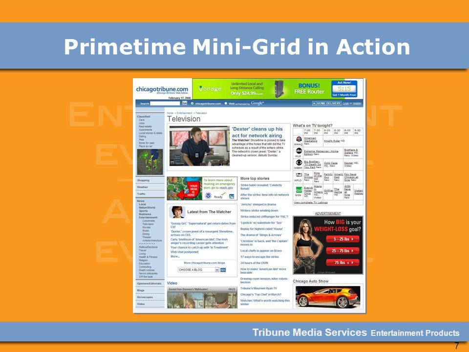Tribune Media Services Entertainment Products 7 Primetime Mini-Grid in Action