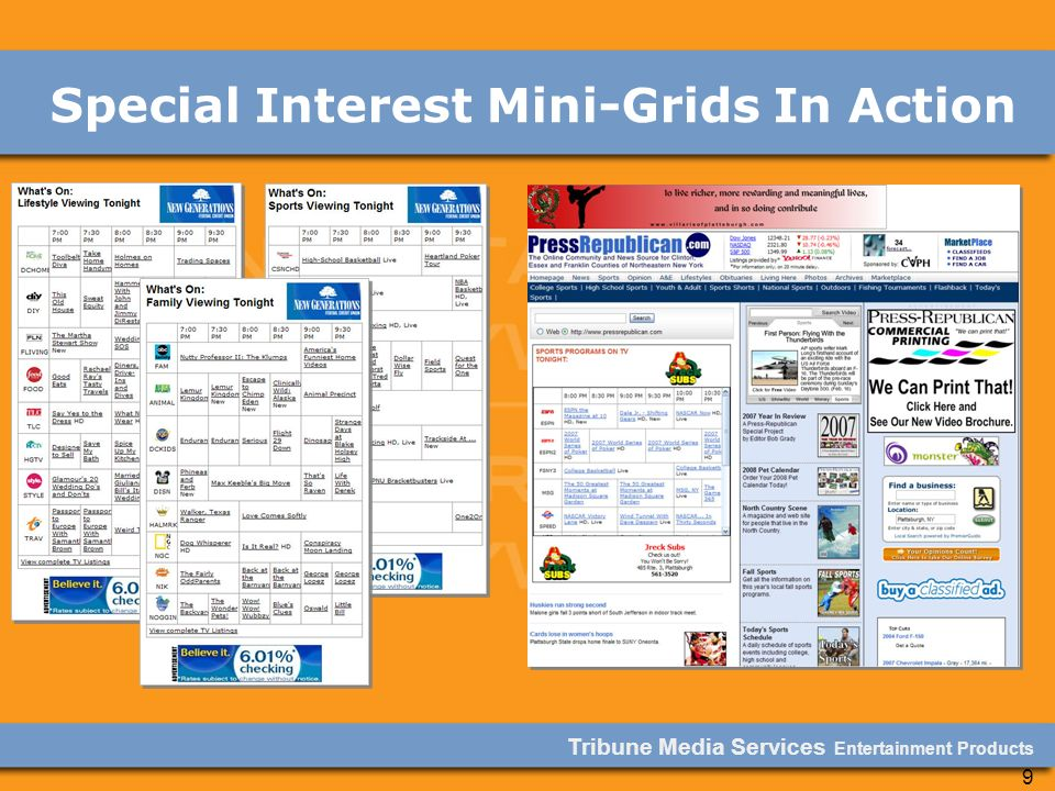 Tribune Media Services Entertainment Products 9 Special Interest Mini-Grids In Action