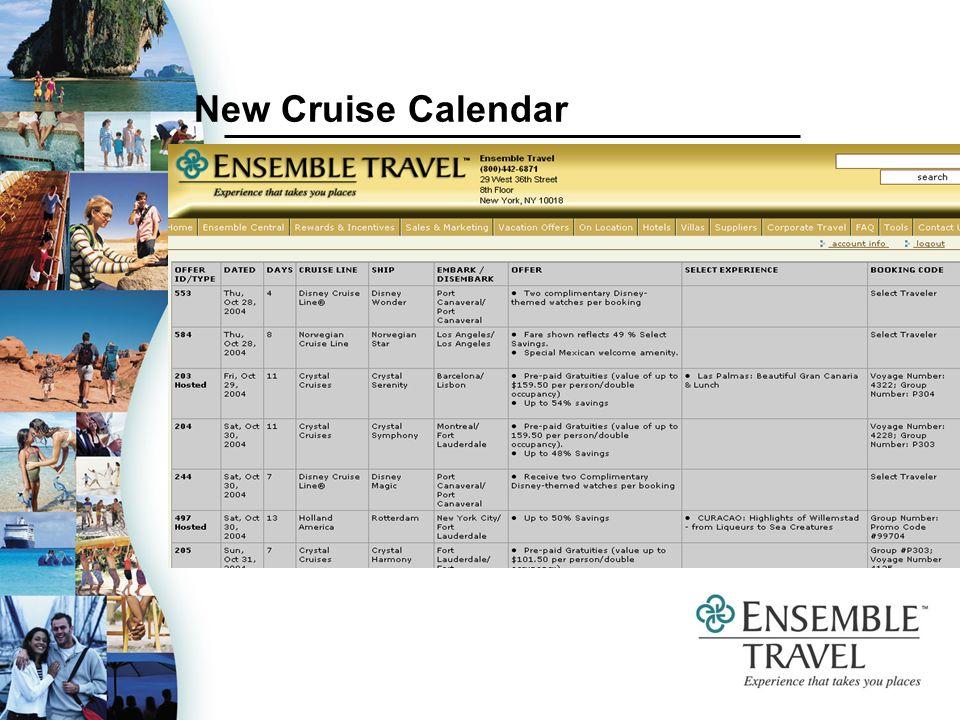 New Cruise Calendar