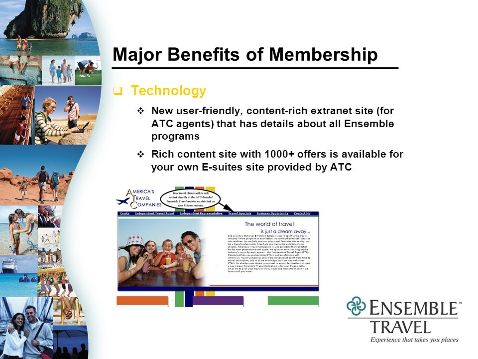 Ensemble Travel Special Cruise Programs RCI 2-category upgrade program in 2005 25-50 sailings in each quarter of 2005 Must book 2 quarters previous to sail date Upgrade assigned within same accommodation type Based on availability No code necessary 1st quarter dates (06) to be announced with an July 1 - September 30 booking window
