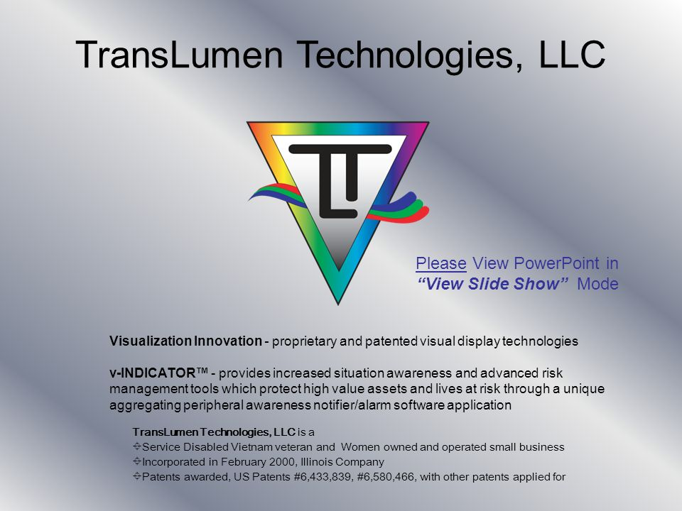 Copyright 2007, TransLumen Technologies, LLC 11 System Status This is a system status indicator and will evolve from green to red and finally pulse when an alarm threshold is crossed.