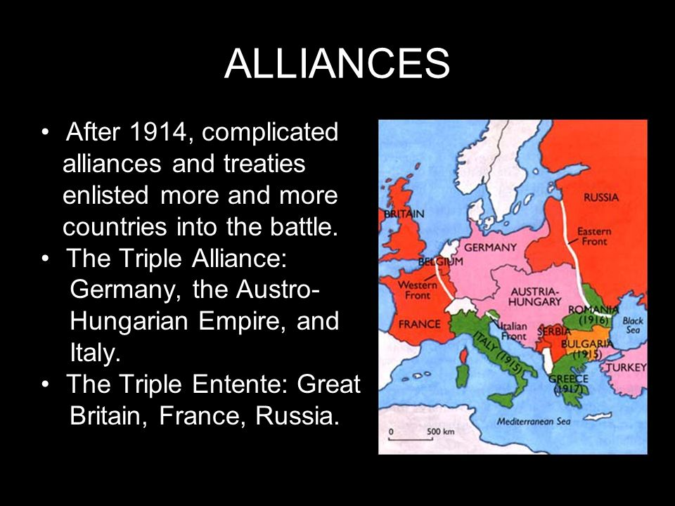 ALLIANCES After 1914, complicated alliances and treaties enlisted more and more countries into the battle. The Triple Alliance: Germany, the Austro- H