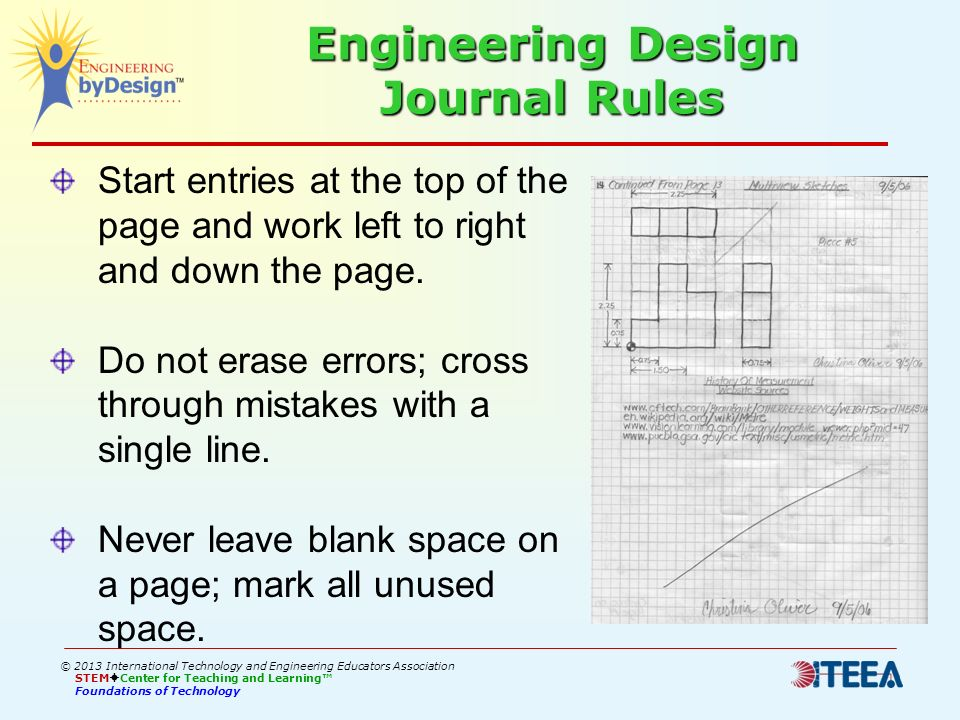 Engineering Design Journal Rules Start entries at the top of the page and work left to right and down the page. Do not erase errors; cross through mis
