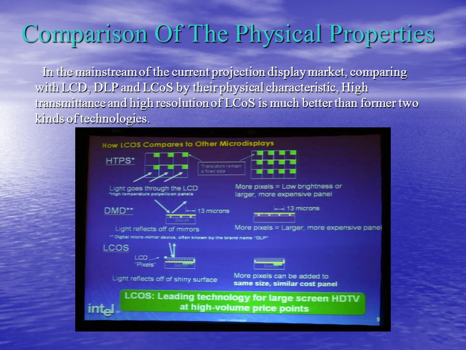 Comparison Of The Physical Properties In the mainstream of the current projection display market, comparing with LCD, DLP and LCoS by their physical characteristic, High transmittance and high resolution of LCoS is much better than former two kinds of technologies.