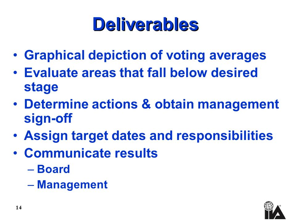 14 Deliverables Graphical depiction of voting averages Evaluate areas that fall below desired stage Determine actions & obtain management sign-off Assign target dates and responsibilities Communicate results –Board –Management
