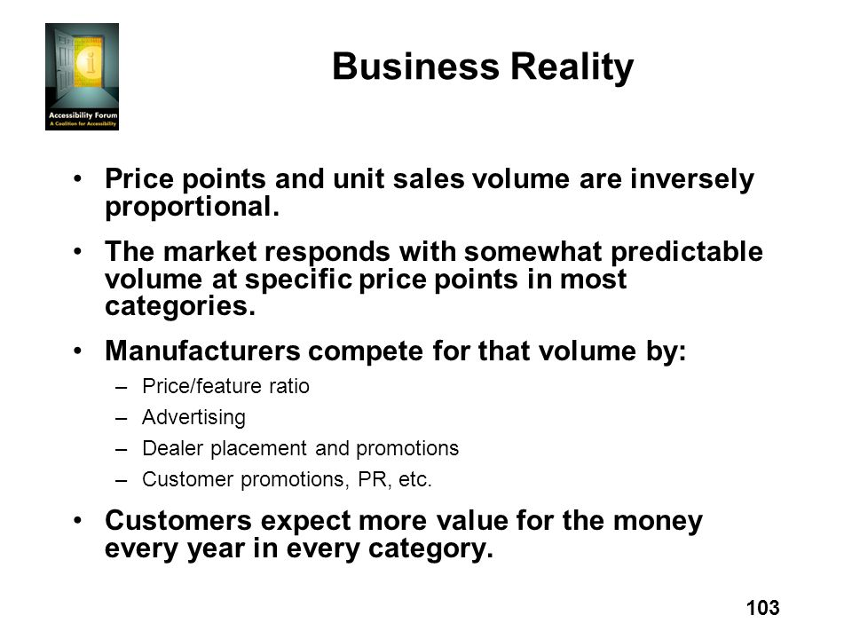 103 Business Reality Price points and unit sales volume are inversely proportional. The market responds with somewhat predictable volume at specific p
