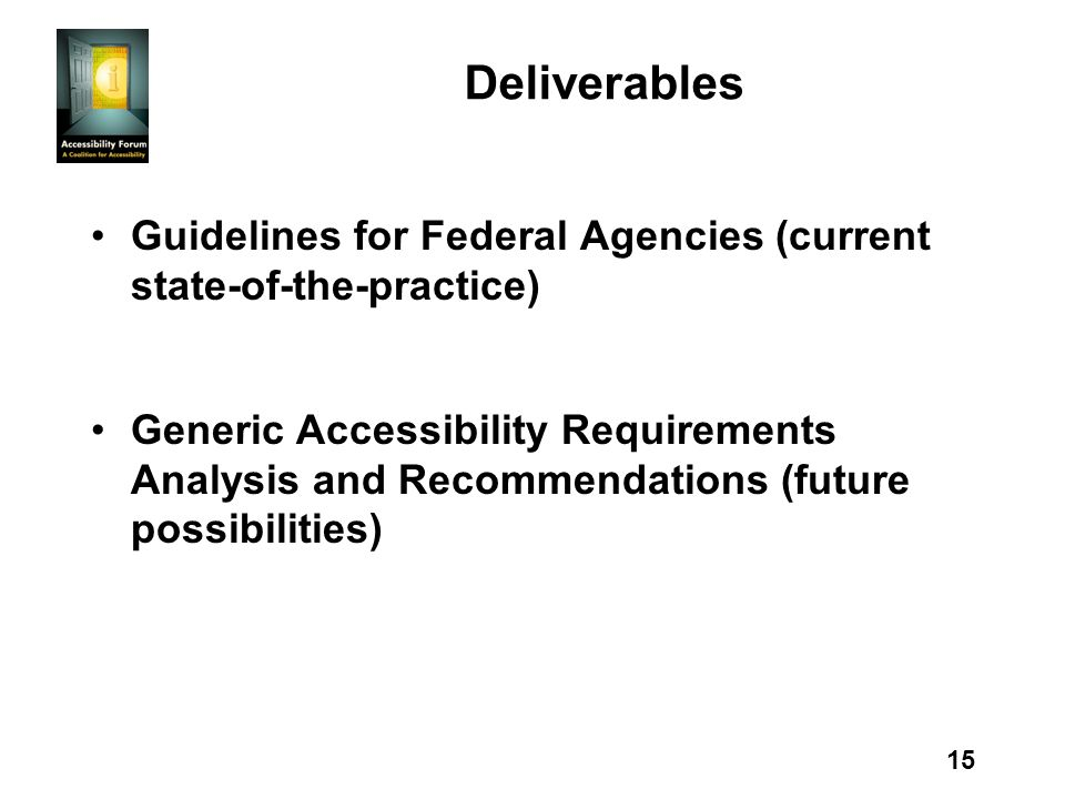 15 Deliverables Guidelines for Federal Agencies (current state-of-the-practice) Generic Accessibility Requirements Analysis and Recommendations (futur
