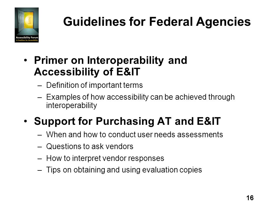 16 Guidelines for Federal Agencies Primer on Interoperability and Accessibility of E&IT –Definition of important terms –Examples of how accessibility