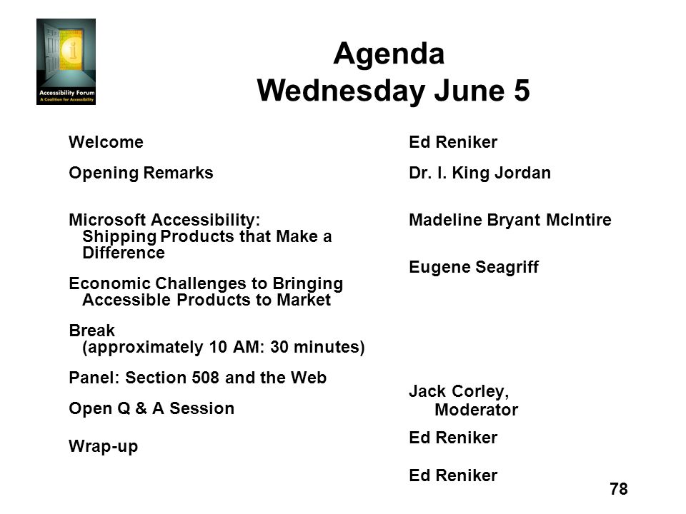 78 Agenda Wednesday June 5 Welcome Opening Remarks Microsoft Accessibility: Shipping Products that Make a Difference Economic Challenges to Bringing Accessible Products to Market Break (approximately 10 AM: 30 minutes) Panel: Section 508 and the Web Open Q & A Session Wrap-up Ed Reniker Dr.