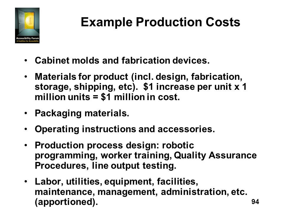 94 Example Production Costs Cabinet molds and fabrication devices.