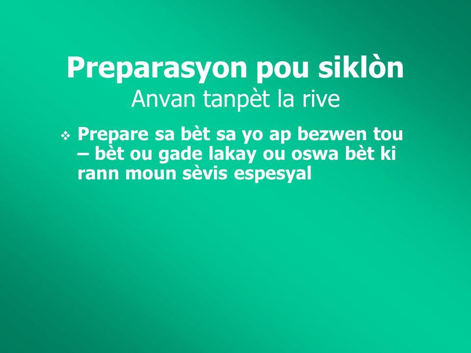 Preparasyon pou siklòn Anvan tanpèt la rive Prepare sa bèt sa yo ap bezwen tou – bèt ou gade lakay ou oswa bèt ki rann moun sèvis espesyal