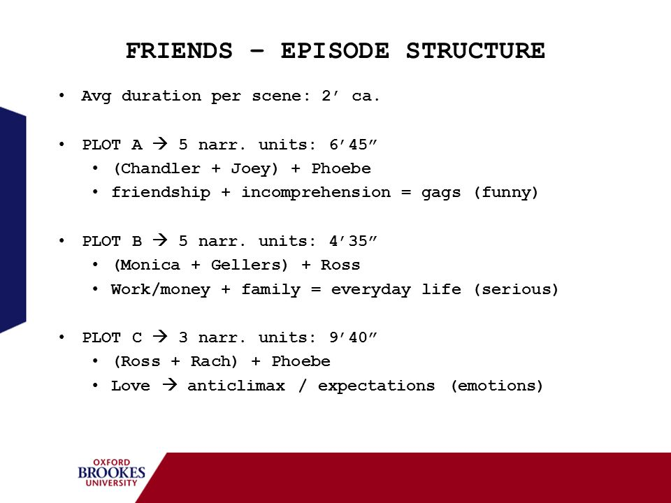FRIENDS – EPISODE STRUCTURE Avg duration per scene: 2 ca. PLOT A 5 narr. units: 645 (Chandler + Joey) + Phoebe friendship + incomprehension = gags (fu