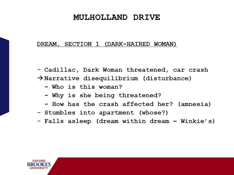 MULHOLLAND DRIVE DREAM, SECTION 1 (DARK-HAIRED WOMAN) -Cadillac, Dark Woman threatened, car crash Narrative disequilibrium (disturbance) - Who is this