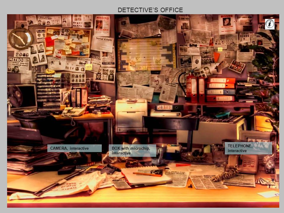 DETECTIVES OFFICE CAMERA, interactiveBOX with microchip, interactive TELEPHONE, interactive