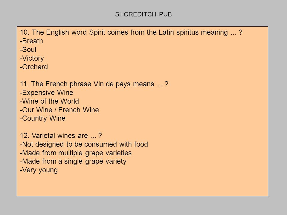 SHOREDITCH PUB 10. The English word Spirit comes from the Latin spiritus meaning...