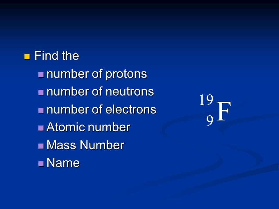 Find the Find the number of protons number of protons number of neutrons number of neutrons number of electrons number of electrons Atomic number Atom