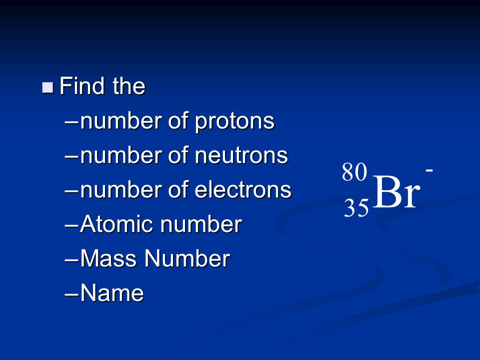 n Find n Find the –number –number of protons of neutrons of electrons –Atomic –Atomic number –Mass –Mass Number –Name Br 80 35 -