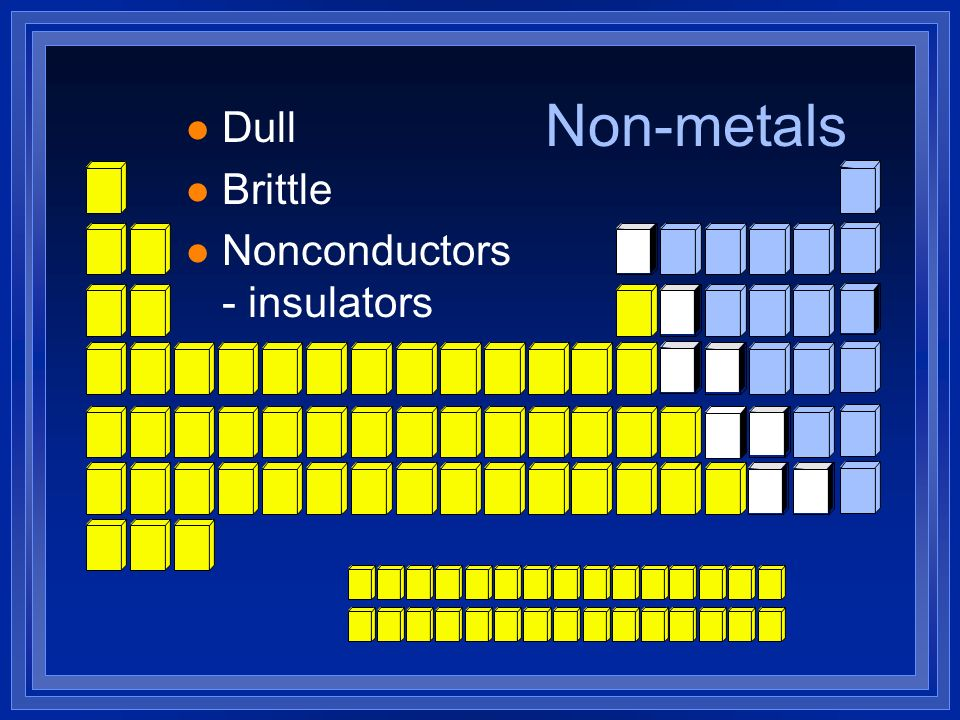 Non-metals l Dull l Brittle l Nonconductors - insulators
