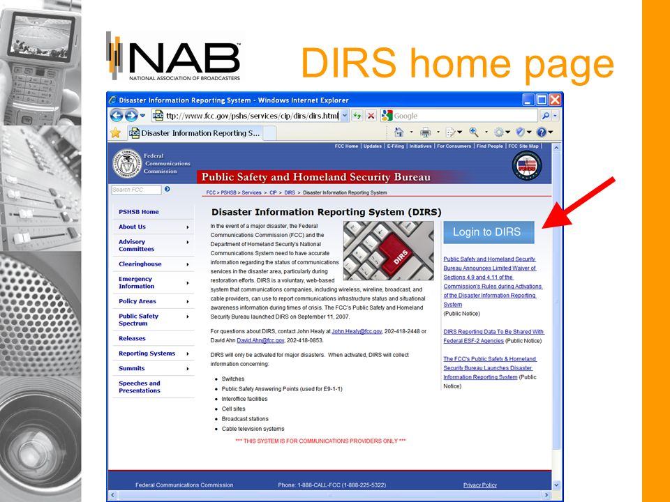 DIRS home page