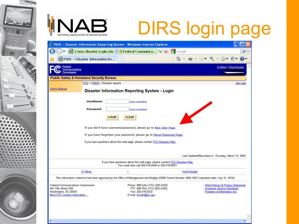 DIRS login page